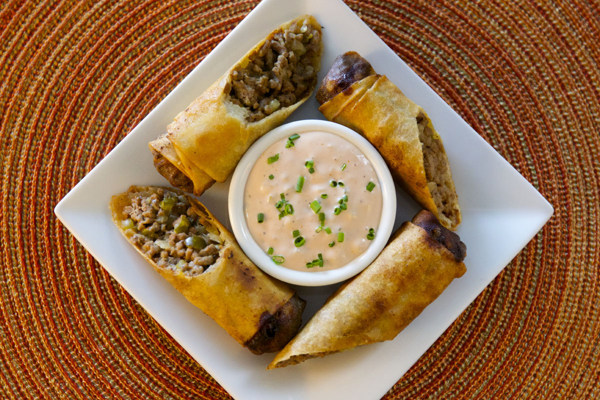 "Cheeseburger Spring Rolls with ""Special Sauce"""