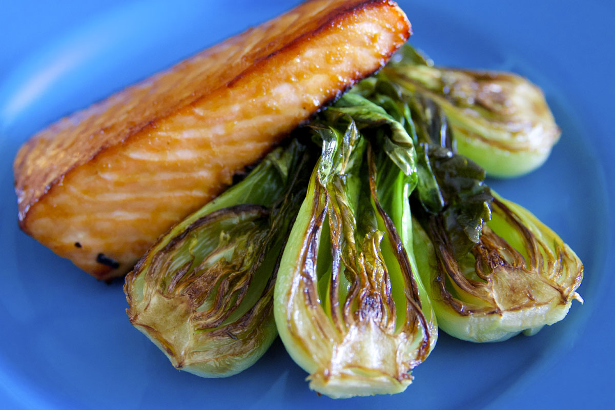 Miso Glazed Salmon with Bok Choy | The Saucy Spork