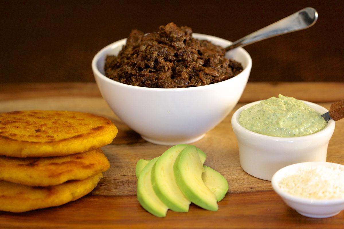 Oxtail Arepas with Guasacaca Sauce