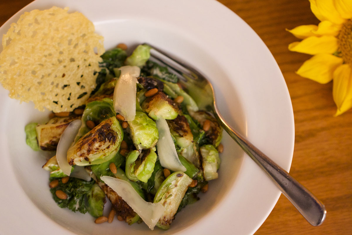 Roasted Brussels Sprouts Caesar with Pine Nuts and Parmesan Crisps