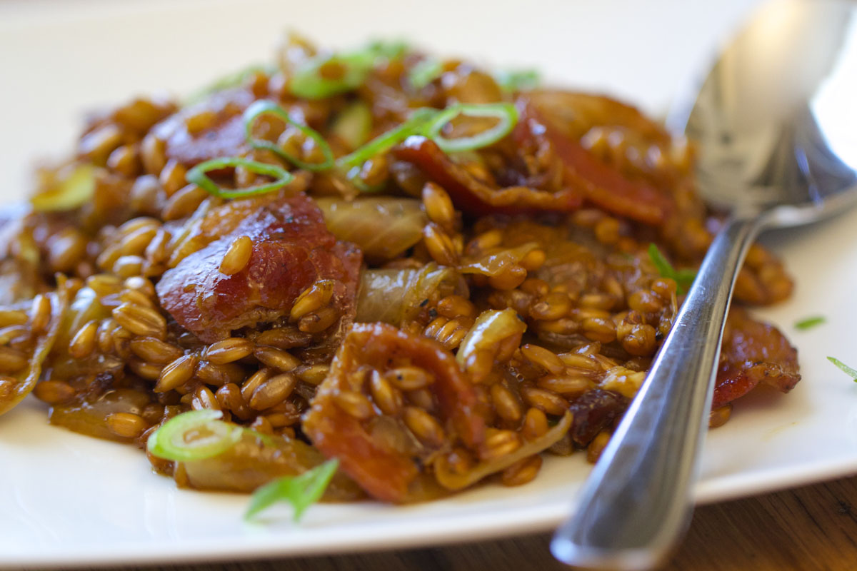 Spelt Risotto with Caramelized Onion & Bacon