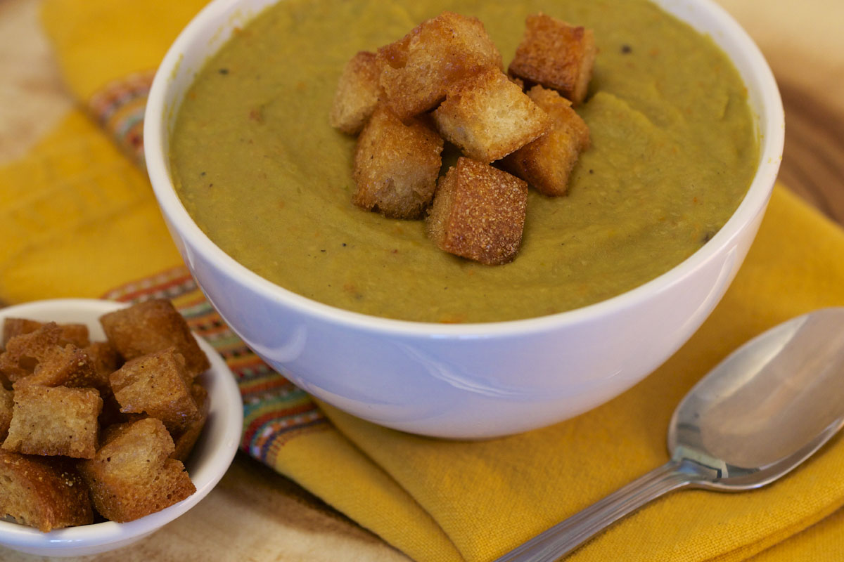 Split Pea Soup with Maple-Brown Butter Croutons