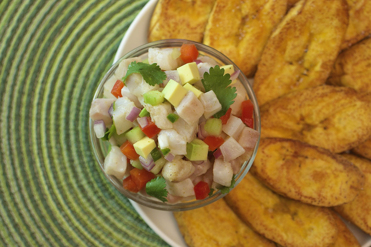 Sole Ceviche with Tostones