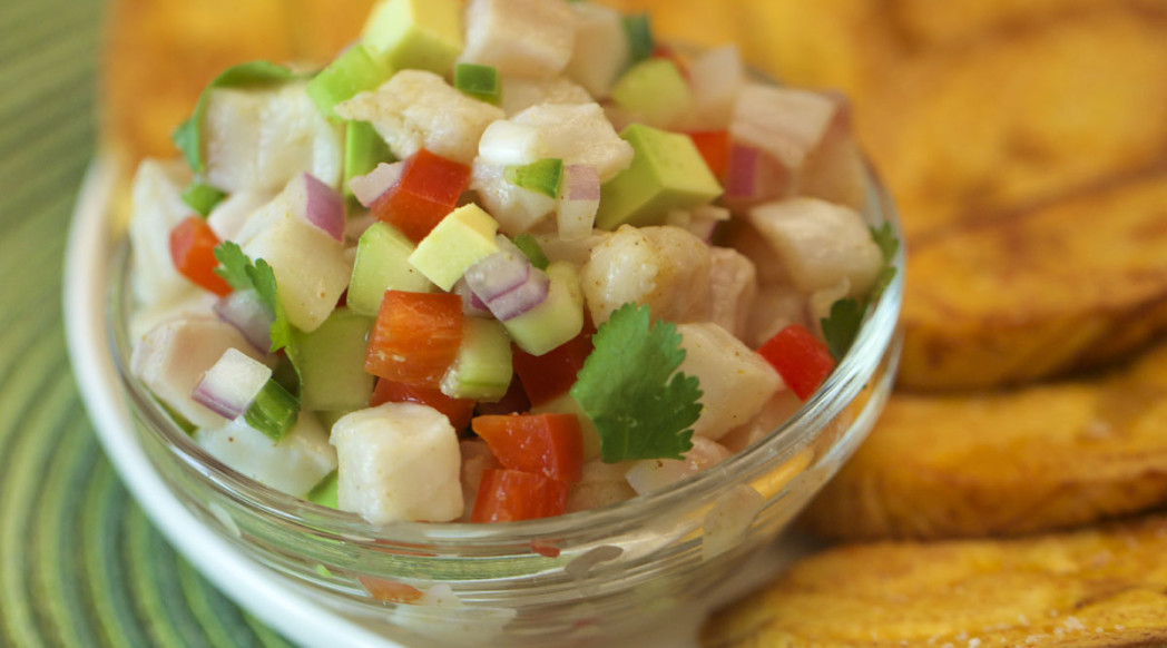 Tilapia Ceviche with Tostones