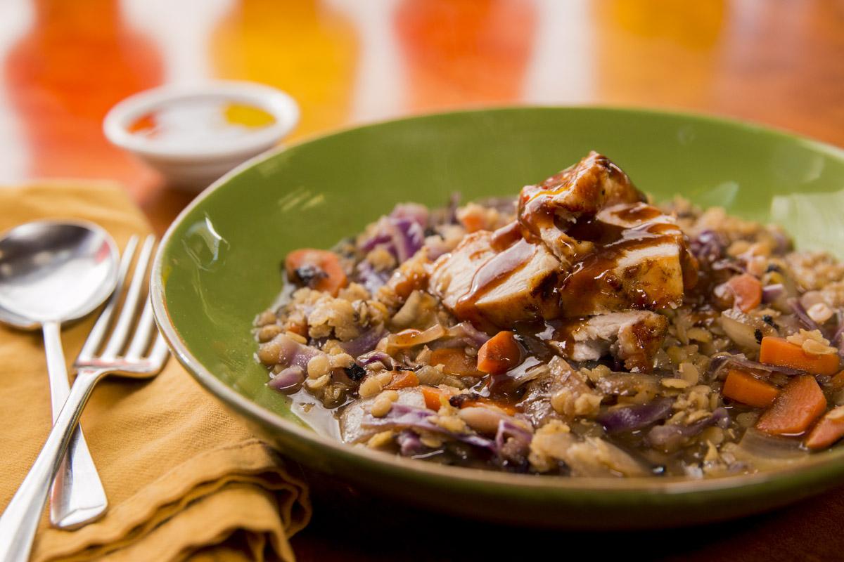 Glazed Chicken with Red Lentil Stew